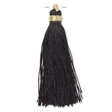 "12 Black Silk Tassels with Gold Finished Copper Loop  ~ 1 3/4"" - 2"" Long"