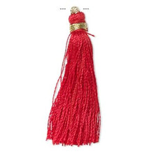 """12 Red Silk Tassels with Gold Finished Copper Loop  ~ 1 3/4"""" - 2"""" Long"""