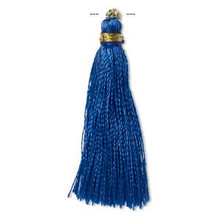 "12 Blue Silk Tassels with Gold Finished Copper Loop  ~ 1 3/4"" - 2"" Long"