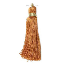 "12 Brown Silk Tassels with Gold Finished Copper Loop  ~ 1 3/4"" - 2"" Long"