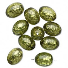 10 Peridot Green Glistening Foil Oval Resin Beads ~ 22x17mm *