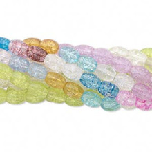Wholesale 10 Strands Multi Colored Crackle Glass 7x6mm Oval Crackle Beads *