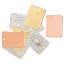 8 Silver, Gold & Copper Plated Brass Rectangle Blank Charm Drops ~ 20x15mm