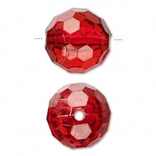 100 Grams Acrylic Transparent Red 20mm Faceted Round Beads