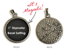 "1 Antiqued Silver 1"" Hammered Interchangeable Magnetic Bezel Set Pendant ~ Bird & Tree"