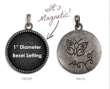 "1 Antiqued Silver 1"" Beaded Interchangeable Magnetic Bezel Set Pendant ~ Butterfly *"