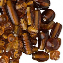 50 Grams Translucent Amber Mixed Shapes Glass Beads ~ 60 to 100 Beads