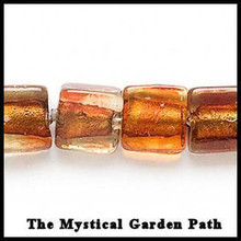 "15"" std Clear Honey Brown Lampwork Square Bead 12mm *"