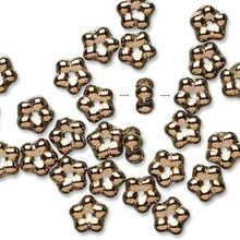 1 Strand Czech Pressed Glass Light Bronze 7x3mm Flower Spacer Beads *