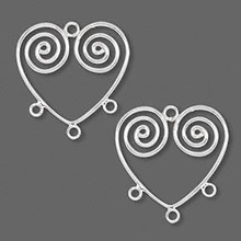 2 Sterling Silver 22x19mm Open Heart With Swirl Earring Connectors *