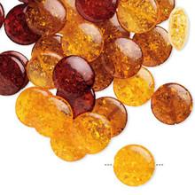 30 Autumn Honey Orange Crackle Resin 20mm Puffed Flat Round Coin Bead Mix  *