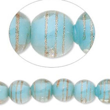 1 Strand Light Blue, Clear & Gold 10-12mm Glass Round Beads *