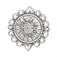 2 Antiqued Silver Plated Pewter 23mm Sun Round Coin Charms with 12 Loops