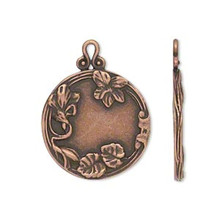 1 Antiqued Copper Plated Brass 22mm Flat Round with Flowers & Leaves Pendant *