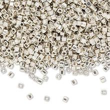 25 Grams Miyuki Opaque Metallic Galvanized Silver Glass 1.8mm Square Seed Beads   ~ (SB1051)