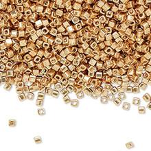 25 Grams Miyuki Opaque Metallic Galvanized Gold Glass 1.8mm Square Seed Beads   ~ (SB1053)