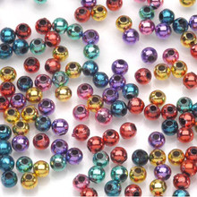 1380 Bright Jewel Colors Metallic Acrylic 4mm Round Bead Mix *