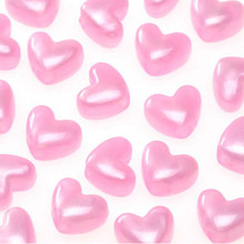 130 Pearl Opaque Pink Acrylic HEART 6x9mm Pony Beads