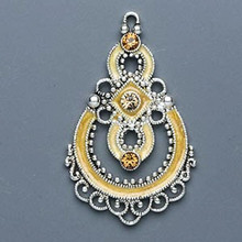 1 Antiqued Silver Pewter Teardrop Focal Made with Swarovski Crystals *