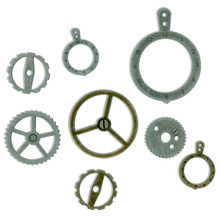 "14 Antiqued Silver Gold Sprocket Gear Charms ~ 0.5""X.5"" to 1.75""X1.25"" *"