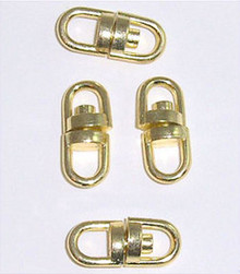 10 Gold Plated 16x7mm Swivel Connectors with 2 Loops *