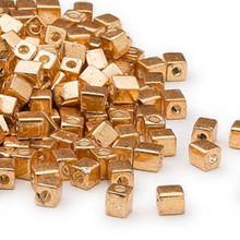25 Grams Miyuki Opaque Metallic Gold 3.5-3.7mm Square Glass Beads (SB1053)