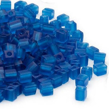 25 Grams Miyuki Transparent Frosted Dark Blue Glass 3.5-3.7mm Square Seed Beads (SB149F)
