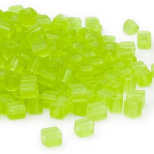 25 Grams Miyuki Transparent Frosted Lime Green Glass 3.5-3.7mm Square Seed Beads (SB143F)