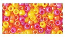 415 Acrylic 6x9mm Pony Beads Opaque Warm Pearl Yellow, Orange, Pink Mix