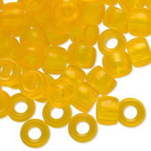 1000 Acrylic Frosted Lemon Yellow 9x6mm Pony Beads *