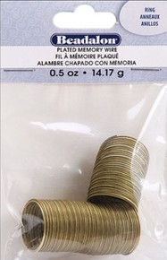 "0.5oz Beadalon Antiqued Brass Plated Steel Memory Wire ~ 3/4"" RING"