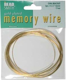 """12 Loops Gold Plated Stainless Steel 2.4x3.1"""" Oval Memory Wire Bracelets *"""