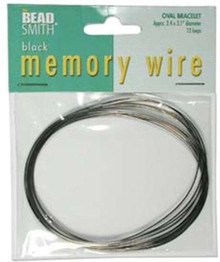 "12 Loops Black Plated Stainless Steel 2.4x3.1"" Oval Memory Wire Bracelets *"