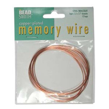"12 Loops Copper Plated Stainless Steel 2.2x2.7"" Oval Memory Wire Bracelets"