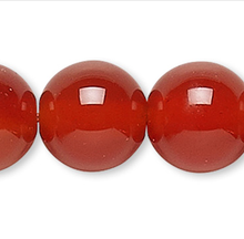 1 Strand Carnelian Red Orange 6mm Round Gemstone Beads