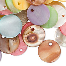 100 Grams Mother of Pearl Shell Coin Drop Charm MIX ~ 15mm
