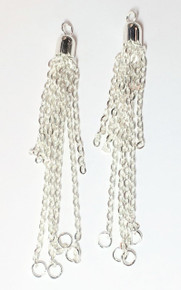 4 Silver Plated Steel Curb 8 Strand Chain Tassels ~ 76x6mm *