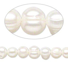 1 Strand Cultured Bleached White Freshwater 7-9mm Semi Round Pearls