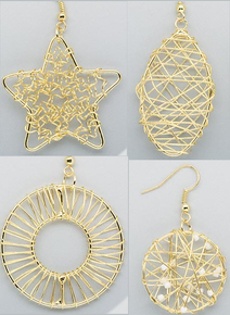 4 Pair Gold Plated Steel Wire Wrapped Earrings ~ Great Base! *