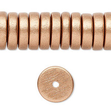 8 Inch Strand Wood Metallic Copper Rondelle Disc Beads   ~ 15x4mm