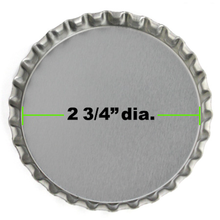 "1 Super Jumbo 2 3/4"" Silver Chrome Bottle Cap *"