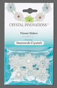 6 Frosted White Resin 2 Strand Spacer Flower Beads  Made with AB Clear Swarovski Crystals *