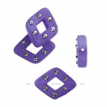 4 Frosted Dark Purple Resin 17x13mm Diamond Beads Made with 6 Swarovski Crystals