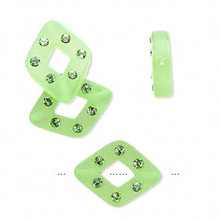 4 Frosted Green Resin 17x13mm Diamond Beads Made with 6 Swarovski Crystals