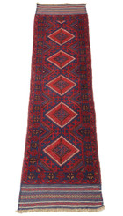 Meshwani hand woven wool rug runner red blue