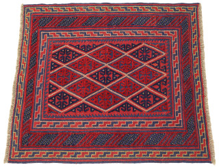 Small tribal Gazak hand woven wool rug red