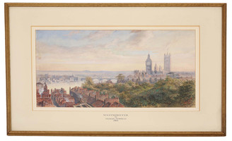 1866 Victorian watercolour painting Thomas Howells Westminster London