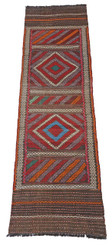 Persian Kilim hand woven rug runner carpet wool ~9' x 2'3""