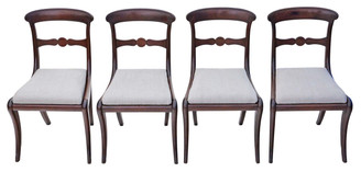 Set of 4 mahogany Georgian Regency dining chairs