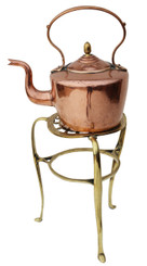19th Century copper kettle on brass stand